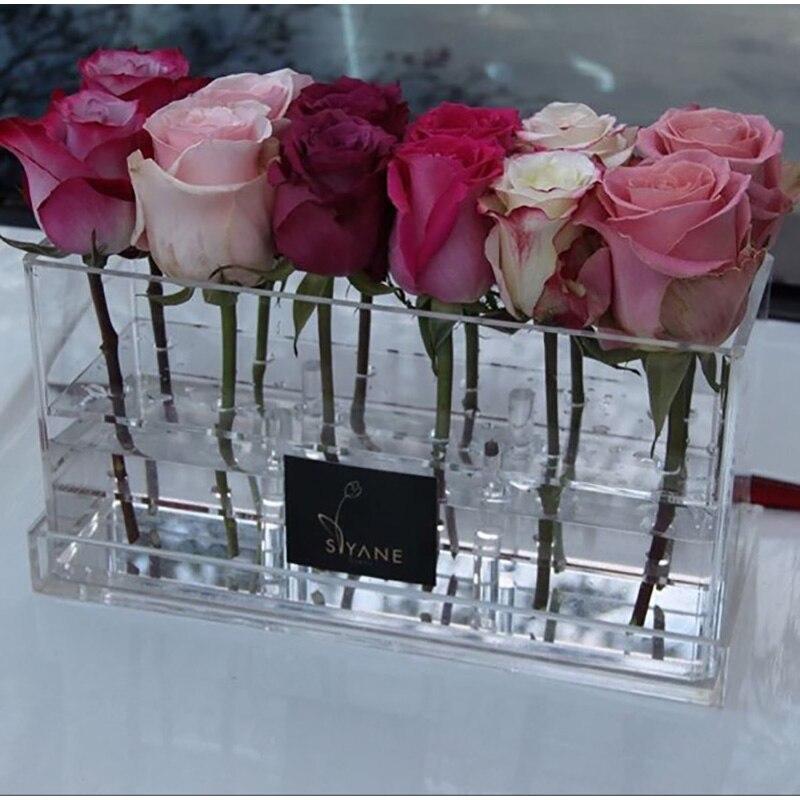 Boîte à fleurs en acrylique cuboïde stockage Rose clair saint valentin cadeau saint valentin pour petite amie sans fleurs