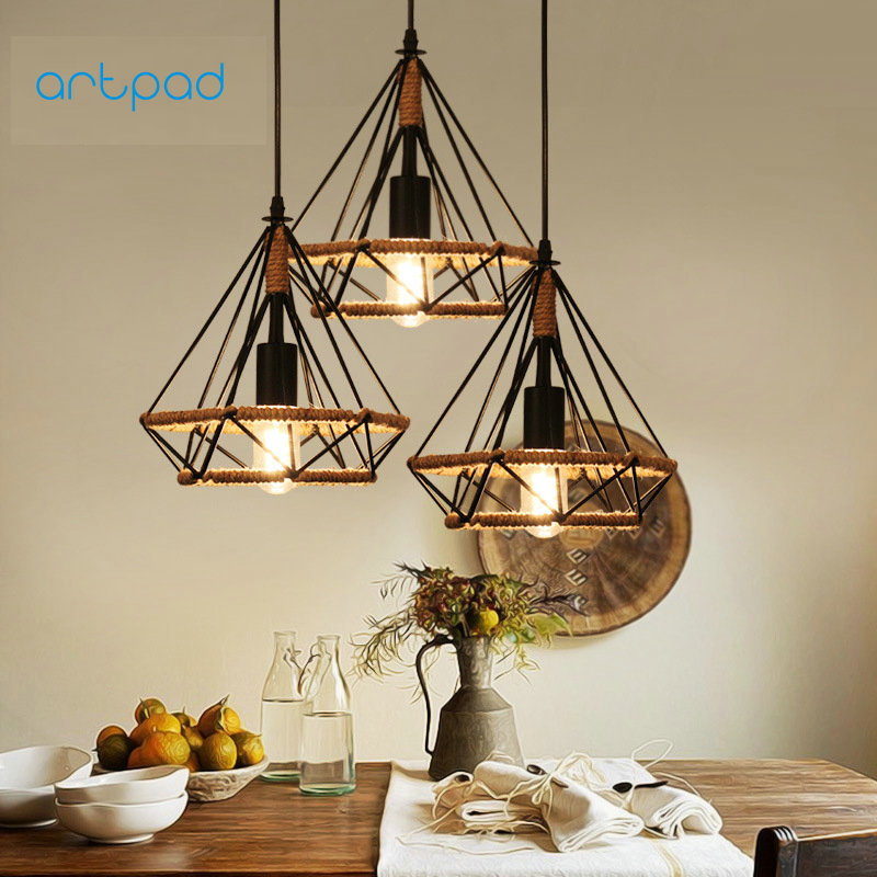 Artpad Vintage Creative Diamond Birdcage Lamp Hemp Rope Pendant Lamp Hanging Ceiling Lamp Fixture with E27 Base