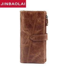 цена на 2018 New Designer Men Leather Wallets Casual Male Wallet Clutch Bag Brand Long Wallet Genuine Leather Brand Wallet For Men Purse