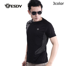 High Quality ESDY Stretch Patchwork Military T Shirt Men Ultra-Soft Comfortable Cargo Tops Short Sleeve Military Quick Dry Tee