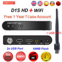 DMYCO Satellite Receiver TV Tuner Decoder D1S DVB-S2 LNB With Europe Portugal Spain Channels Account Support Powervu HD Receptor