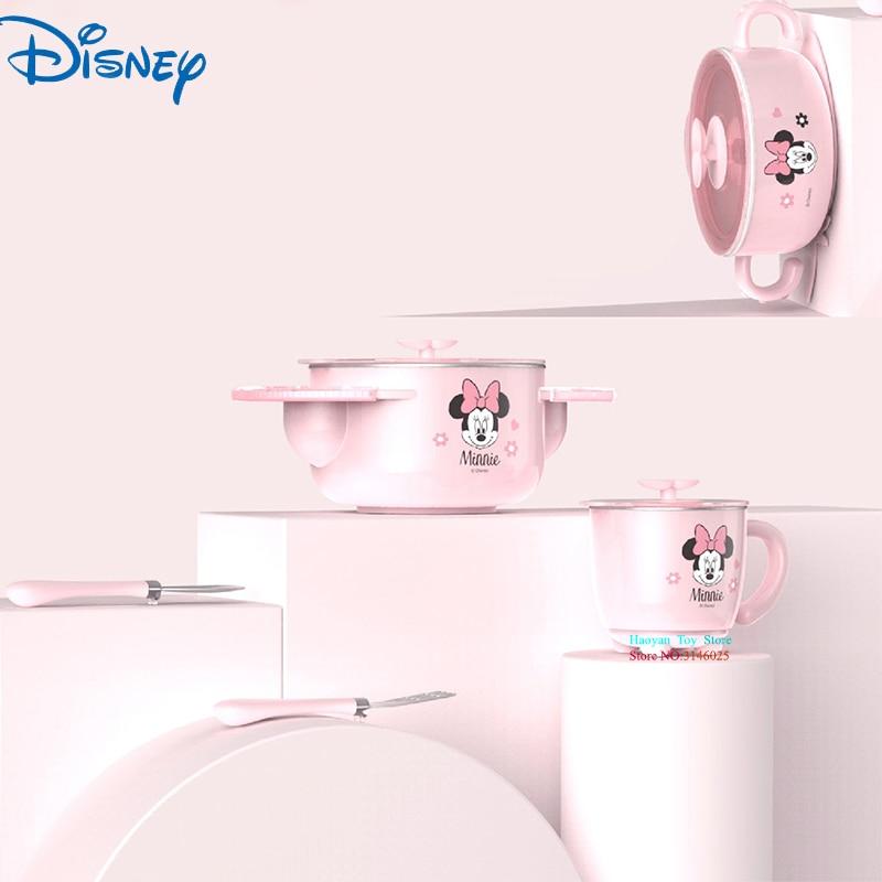 Disney Baby 5pcs Set Mickey Minnie Cartoon Animation 316 Stainless Steel Insulated Sucker Bowl Eat Fork
