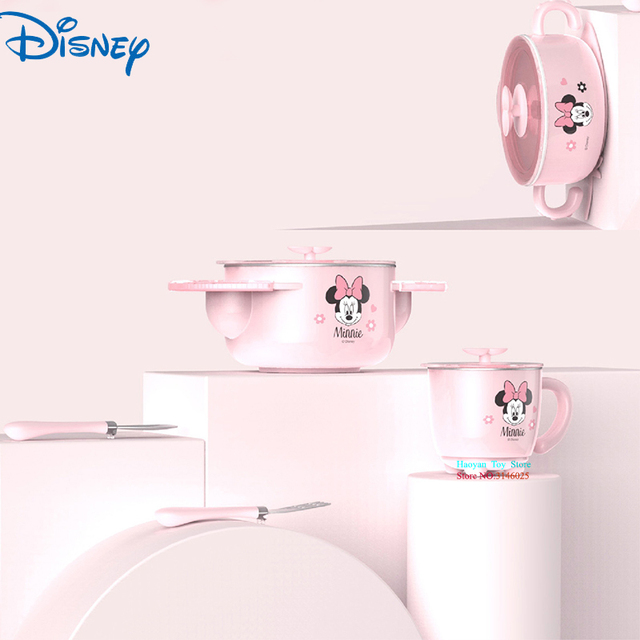 Disney Baby 5pcs Set Mickey Minnie Cartoon Animation 316 Stainless Steel Insulated Sucker Bowl Eat Fork Spoon Milk Cup With Lid