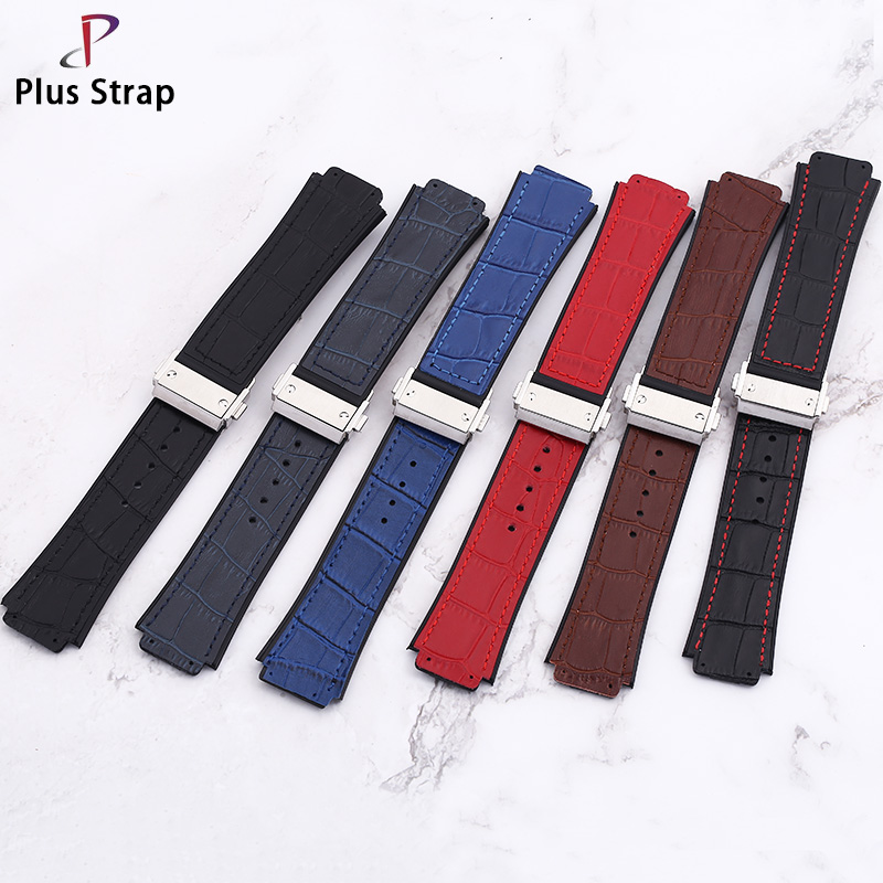 Plus strap High grade cowhide 25mm slub fashion Watch strap, frosted waterproof men's hublot Watch band plus pocket patched slub tee