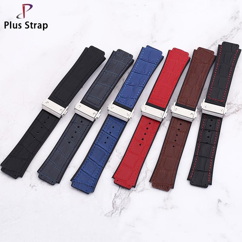 Plus strap High grade cowhide 25mm slub fashion Watch strap, frosted waterproof men's hublot Watch band ringer slub shorts