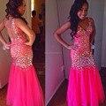 Súper ventas Pink Mermaid Vestido De lentejuelas Bling Bling opacidad volver mujeres Formal atractivo del partido del Vestido por encargo Vestido De