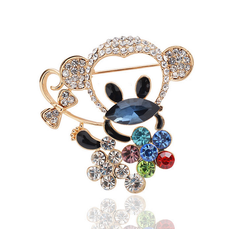 UALGL Fashion Broche Hombres Jewelry Rhinestone Crystal Monkey Brooch Men Suit Scarf Pin Brooches For Women Coat Cappotto Spilla