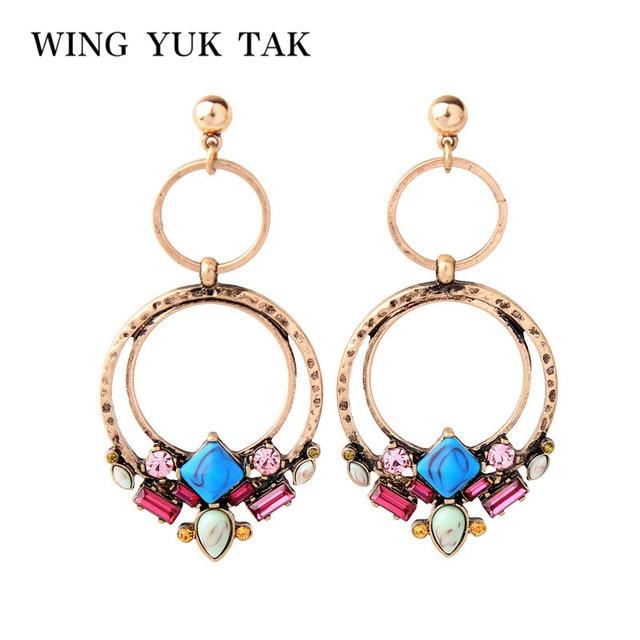 wing yuk tak Ethnic Flower Stone Drop Earrings For Women Vintage Fashion Bohemia Statement Earring Party Jewelry Wholesale