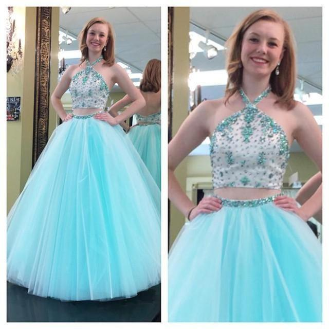 Two Piece Quinceanera Dresses Crystal And Beaded Tulle Sweet 16 Years Long Debutante  Prom Gowns Custom 85e34ed6eb9c
