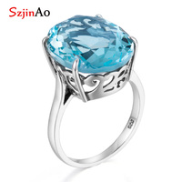 Szjinao Hot oval aquamarine rings 10ct gemstone March birthstone 925 sterling silver romantic woman ring for wedding engagement
