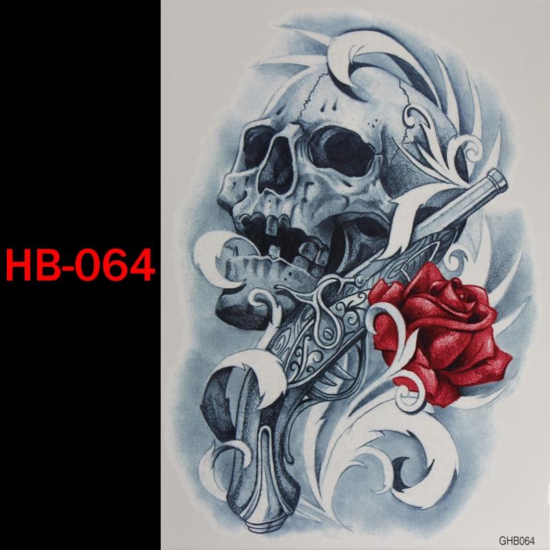 Us 119 Pistolet Czaszka Róża Tymczasowy Tatuaż Wodoodporny Mężczyźni Kobiety 3d Tatuaż Ramię Naklejki Fałszywe Ramię Rękaw Body Tatuaż Ramię