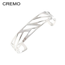 Cremo Ribbon Cuff Bangles For women Stainless Steel Bracelets Opening Wide Bangles Femme Bijoux Reversible Pulseiras(China)