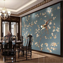 Custom wallpaper Nordic hand-painted vintage flowers and birds TV background wall painting waterproof material hand painted silk wallpaper painting lotus with birds hand painted wall paper wallcovering many pictures backgrounds optional