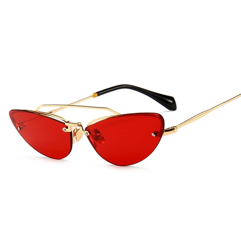 Kattögon smala solglasögon för kvinnor Vintage Design Rimless - Kläder tillbehör - Foto 2