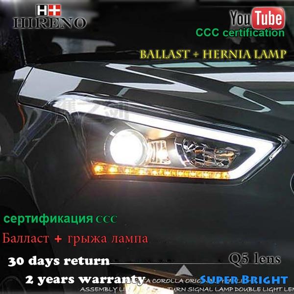 Hireno Headlamp for 2015-2017 Hyundai IX25 Headlight Assembly LED DRL Angel Lens Double Beam HID Xenon 2pcs hireno headlamp for 2015 2016 2017 chevrolet cruze headlight assembly led drl angel lens double beam hid xenon 2pcs