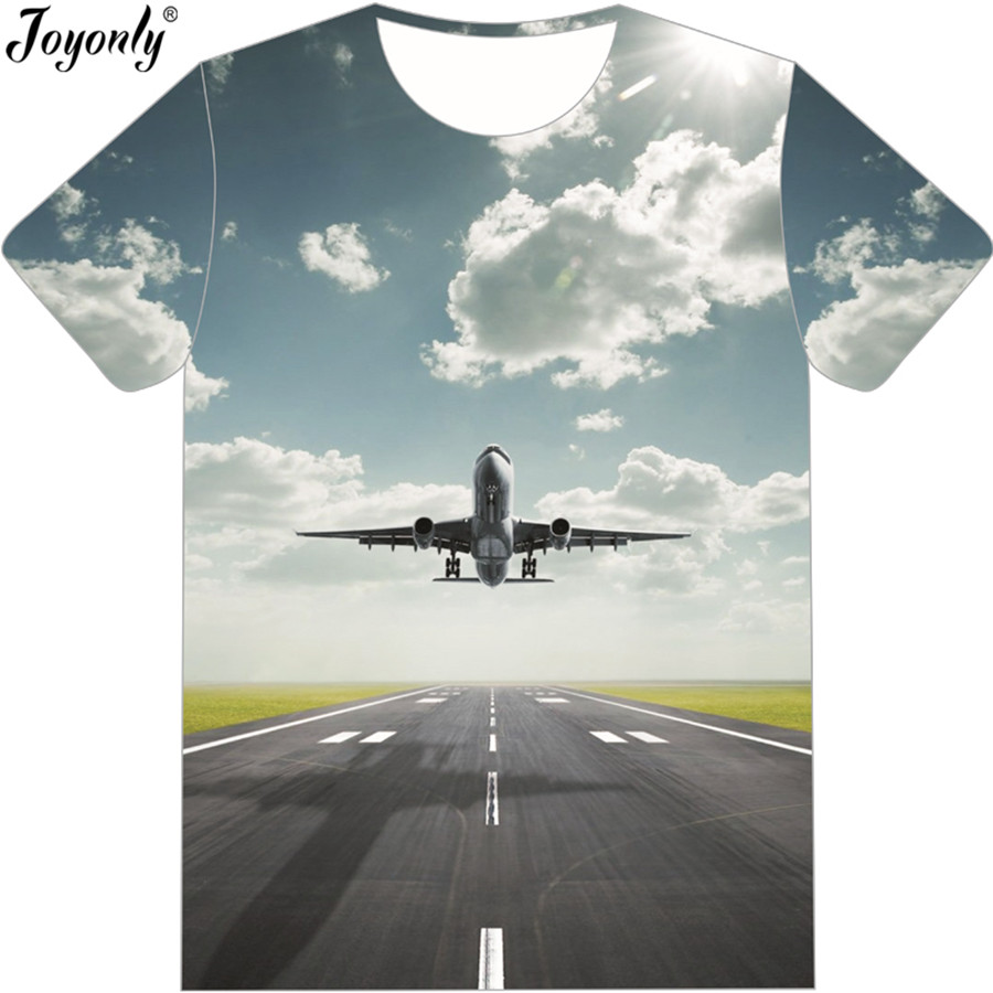 Joyonly 2018 Boys/Girls Summer Fashion T-shirt Taking Off AirPlane Graphic Printed 3d Tshirt Casual Short Sleeve O-neck T shirt slimming round neck 3d sky letter print short sleeve graphic t shirt for men