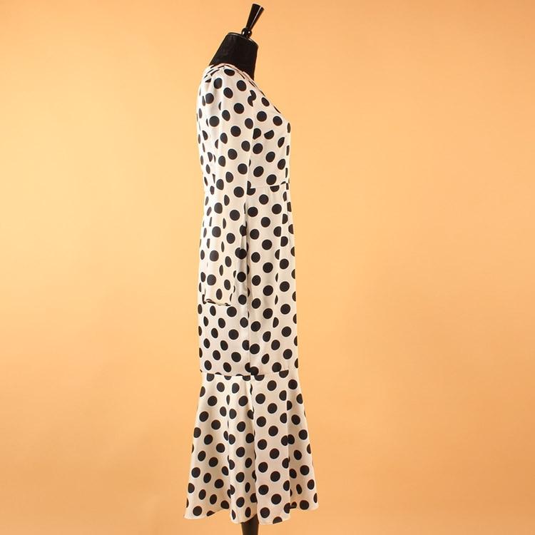 Black Piste Manches De White 10xl Celebrity Sirène Fishtail Polka Imprimer Soie Dot À 3xs Longues With Mousseline Haute Taille Moulante Femmes Automne Robe Plus N8OwPnkX0