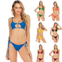 Womens Swimming Suit 2019 New Sexy Wrinkle Pure Colored Fluorescent Multicolor Optional Bikini