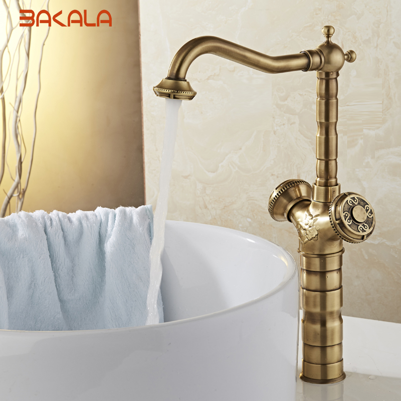 New Arrival Tall Faucet Vintage Style Bathroom Basin Sink Faucet Antique Brass MixerTap Dual Handles Deck Mounted BR-10703New Arrival Tall Faucet Vintage Style Bathroom Basin Sink Faucet Antique Brass MixerTap Dual Handles Deck Mounted BR-10703