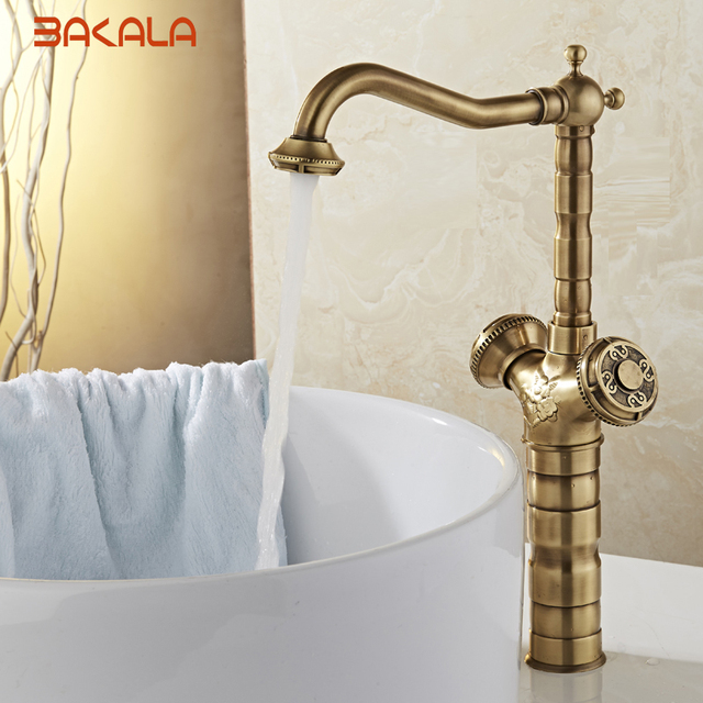 New Arrival Tall Faucet Vintage Style Bathroom Basin Sink Antique Br Mixertap Dual Handles Deck