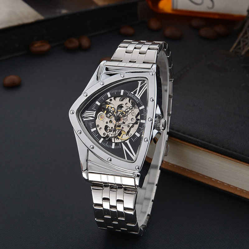 Sport Design Triangle shape Watch Mens Watches Top Brand Luxury Montre Homme Clock Men Automatic Skeleton Watch