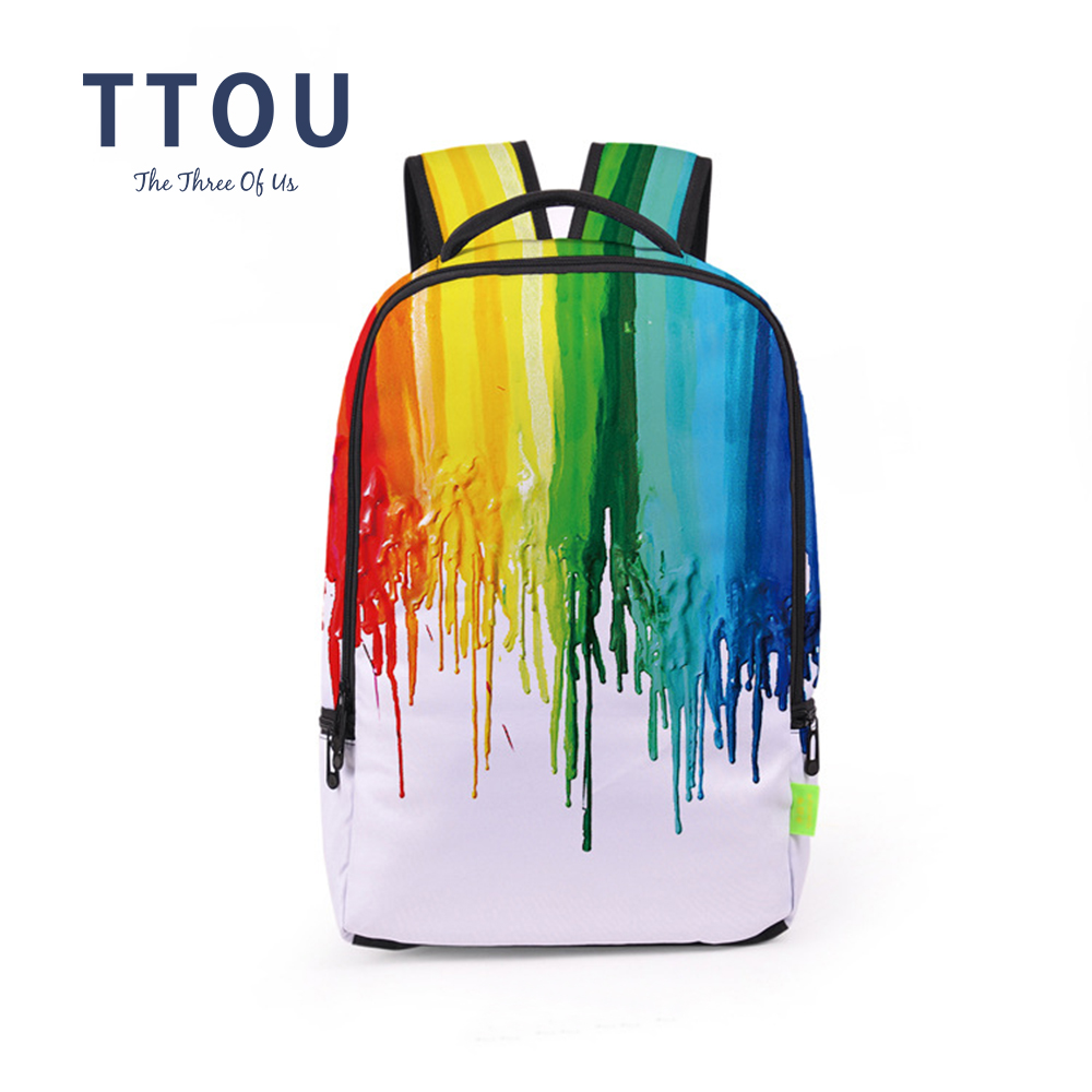 TTOU Colorful Women Backpack Fashion Large School Backpack For Teenager Girls Casual Travel Backpack 3D Printing Rucksack