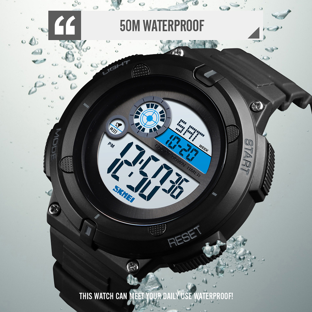 SKMEI 1481 Digital Watch Men Outdoor Sport Watch New 50M Waterproof 2 Time Alarm Clock 2019 montre homme Military Men Watches in Digital Watches from Watches