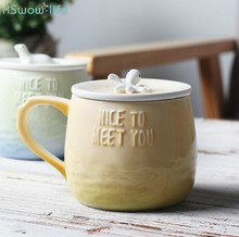 Marine Animal 3d Relief Embossed Mug Simple Creative Coffee Milk Ceramic with Lid Party Gift