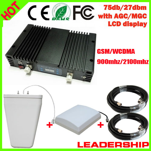 75db 27dbm GSM WCDMA 900mhz 2100mhz W-CDMA 3G 1W Dual Band Cell/mobile Phone Repeater Booster Detector Repetidor Amplifier LCD