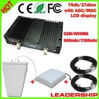 75db 27dbm GSM WCDMA 900 мГц 2100 мГц W-CDMA 3G 1 Вт Dual Band/мобильного телефона ретранслятора усилитель детектор repetidor усилитель ЖК-дисплей