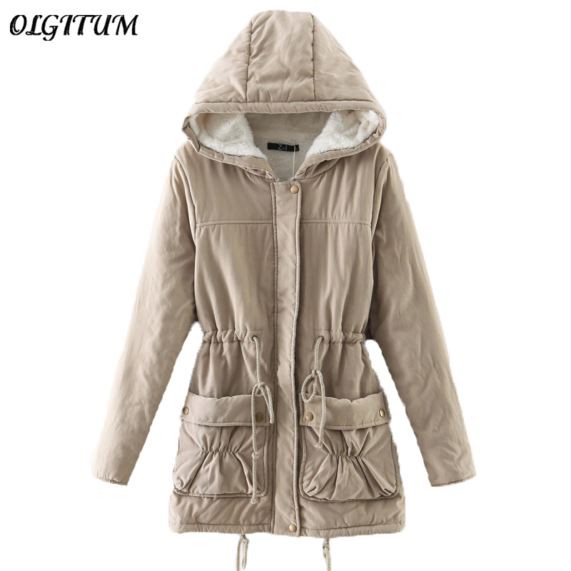 New 2019 Fashion Winter Women Fur Hooded Zipper Embellished Women   Parkas   Military Casual Winter Coat outerwear Women   Parkas