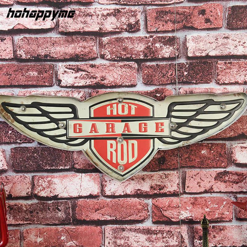 Hot Garage tige LED néon signes Bar Pub rétro Plaque Garage peinture suspendus métal décoratif plaques Vintage décor à la maison