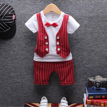 1 year birthday gentleman newborn baby boy clothes formal striped short sleeve suit summer baby boy wear clothing outerwear sets cheap O-Neck REGULAR cotton polyester Fits true to size take your normal size Pullover Broadcloth R-3873 BarbieRabbit Baby Boys