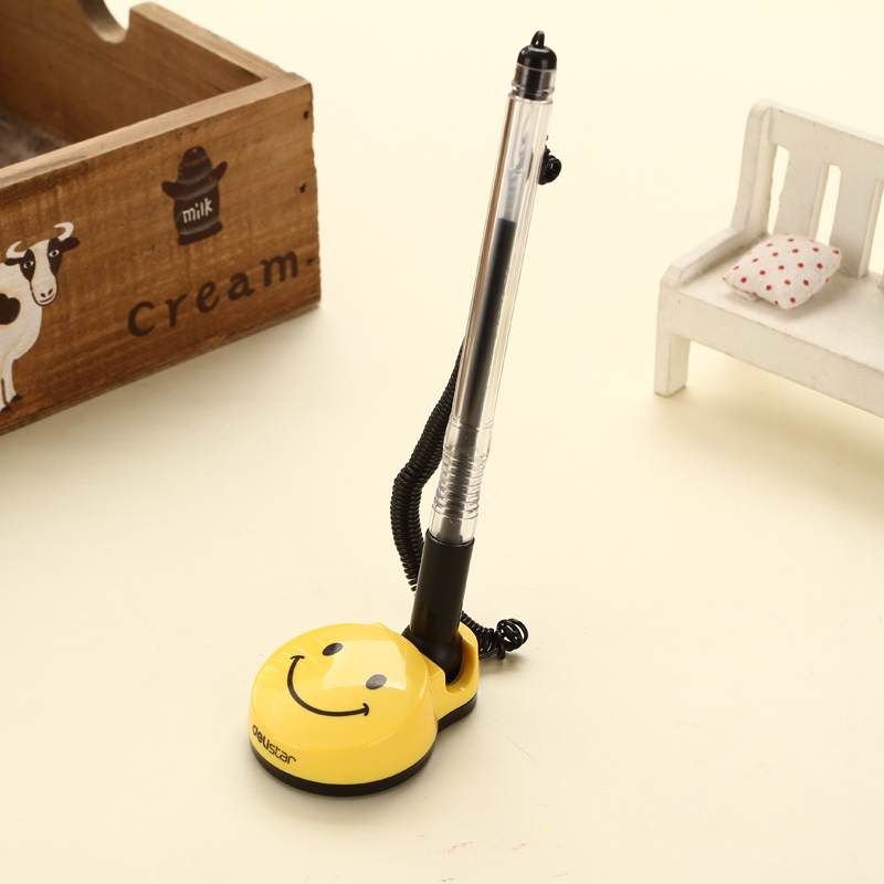 0.5mm Smile Face Desk Gel Pen Counter Pen Black Ink Ballpoint Pen Standing Table Rollerball Gel Pens Stationery