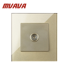 MVAVA Champagne Crystal Glass Panel Modern TV Wall Socket New Style Television Port Jack Free Ship