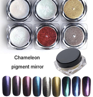 New 6 Boxes Set Chameleon Mirror Nail Glitter Powder Pigment Mirror For Nail Art Chrome Dust