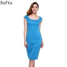 Softu Для женщин Летнее стильное платье пикантные по колено короткий рукав Bodycon тонкий карандаш Платья для женщин Оболочка Твердые деловая модельная одежда
