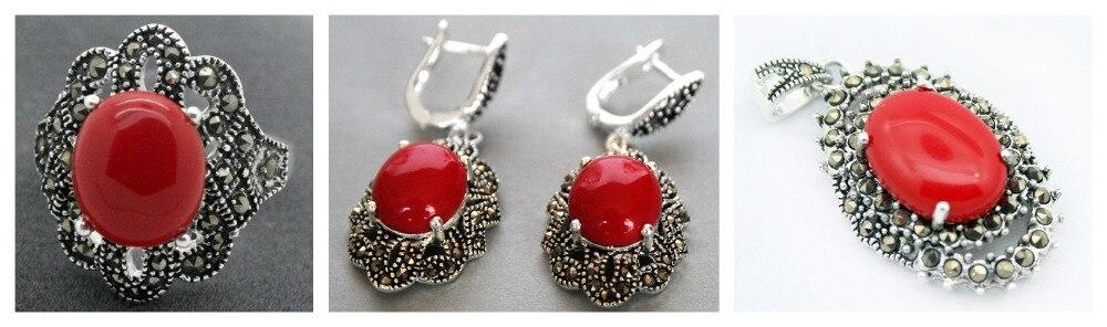 Bague en argent Sterling 925 avec laque sculptée rouge pour femme (#7-10) boucles d'oreilles et parures de bijoux Pandent