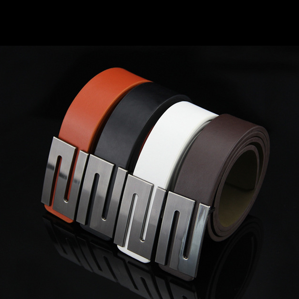 Luxury Brand High Quality Men Belts Casual Punk Smooth Buckle PU Leather Belt Waist Belt Men's Clothing Accessories LB