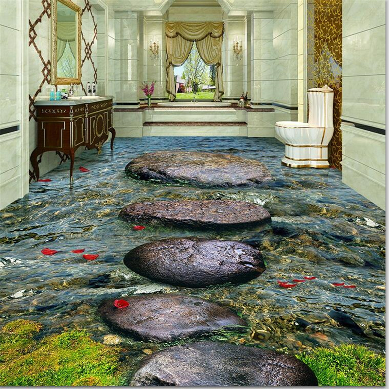 beibehang Custom Floor Paintings Wallpaper Stone Stream River Bathroom 3D Self-adhesive floor tiles painting Papel de parede stream хатанга 3 sport