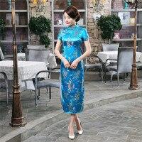 Nuovo Arrivo Vestito Tradizionale Cinese Donne Sexy del Raso Qipao Lungo Cheongsam fiore Più Il Formato S M L XL XXL XXXL 4XL 5XL 6XL