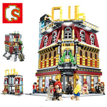 SEMBO City StreetView 5in1 Nightclub Bar 2488pcs MOC Resort Hote Building Blocks Bricks Streetscape With LED Light(China)