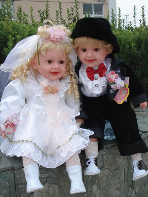 1pair 24inch 60cm Couple Lovers Wedding Simulation Doll Favors And Gifts Souvenir Princess Angel