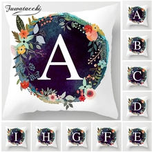 Fuwatacchi Kids Room Decoration Letter English Alphabet In A Wreath Cushion Cover for Sofa Home Flower Pillowcase