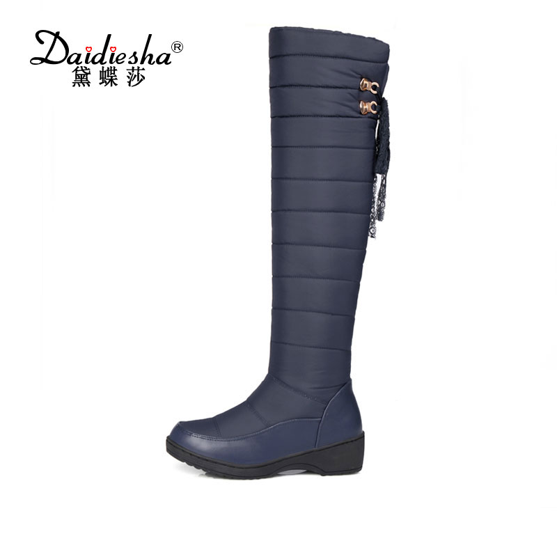 Daidiesha  New arrival Russia keep warm snow boots fashion platform fur over the knee lace  warm winter boots for women Shoes 2016 new arrive keep warm high heel snow boots fashion thick fur platform knee high winter boots for women shoes