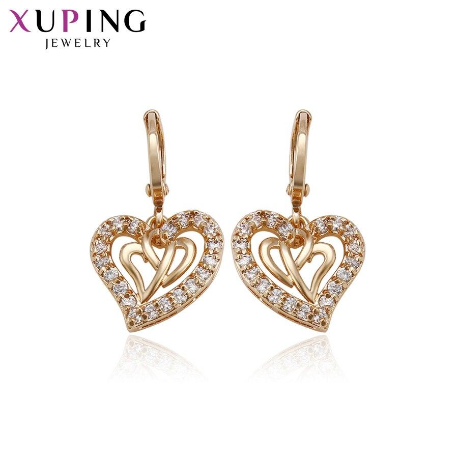 11,11 сделок Xuping мода элегантный сердце Форма серьги золотые Цвет покрытием для Для женщин Рождество Jewelry подарки S76, 3-94812