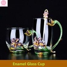 Irises Enamel Glass Water Bottle Tea Cup Lemon Juice Girls cup with Mixing Spoon Gift 350ML
