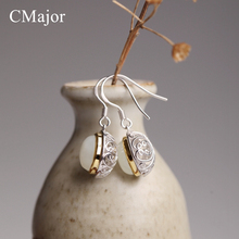 CMajor Thailand Handmade Hollow Carved Silver Earrings With Hetian Natural Stone Retro Earring For Women Silver Jewelry