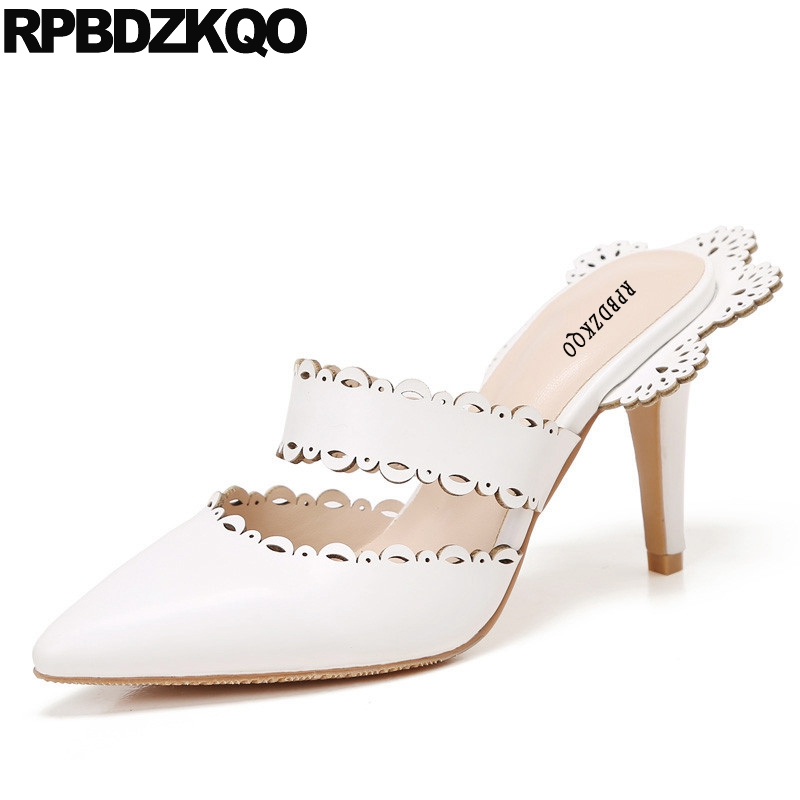 Famous Women Pointed Toe High Heels Celebrity 2017 Scarpin White Abnormal Fashion Shoes Brand Sandals Size 4 34 Mules Slipper abnormal psychology 4e im
