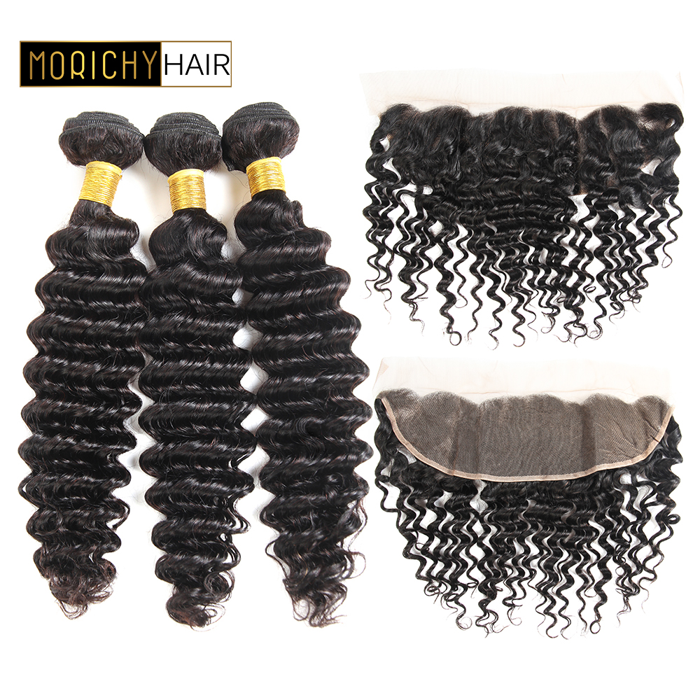 MORICHY Malaysian Deep Wave With Lace Frontal Closure 100% Human Hair Weave Bundles remy Hair Weaving Extensions 13x4 Frontal